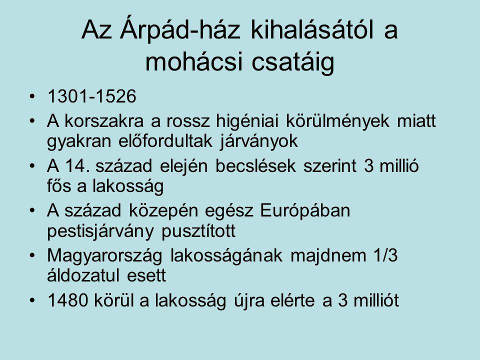 Az Árpád-ház kihalásától a mohácsi csatáig