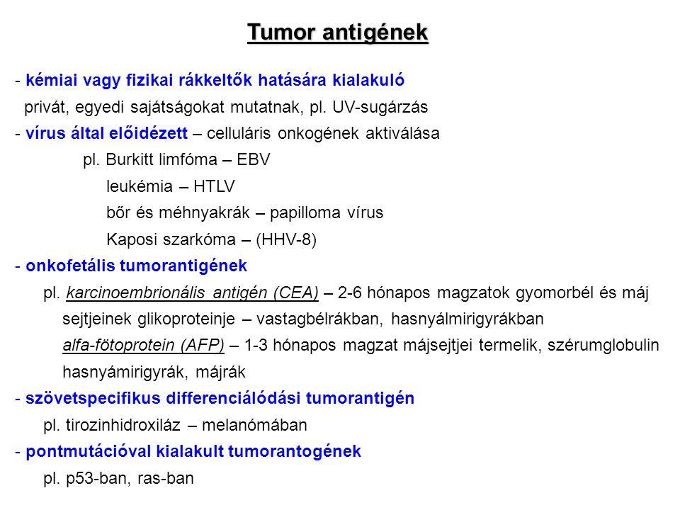 Tumor antigének kémiai vagy fizikai rákkeltők hatására kialakuló