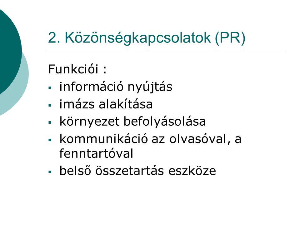 2. Közönségkapcsolatok (PR)