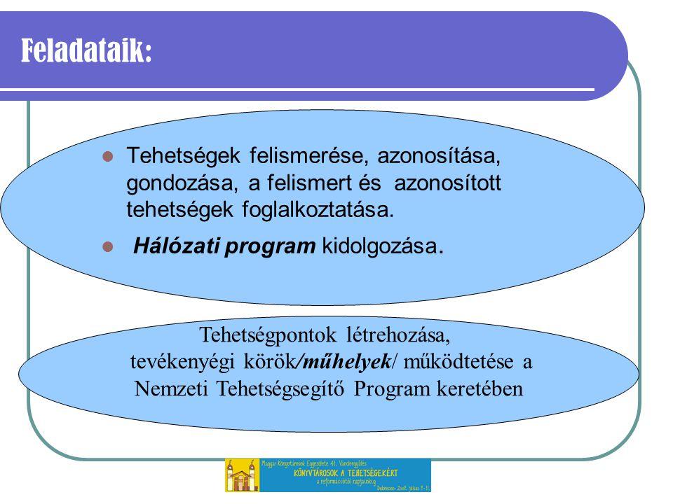 Feladataik: Tehetségek felismerése, azonosítása, gondozása, a felismert és azonosított tehetségek foglalkoztatása.