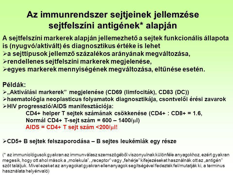 Az immunrendszer sejtjeinek jellemzése sejtfelszíni antigének* alapján