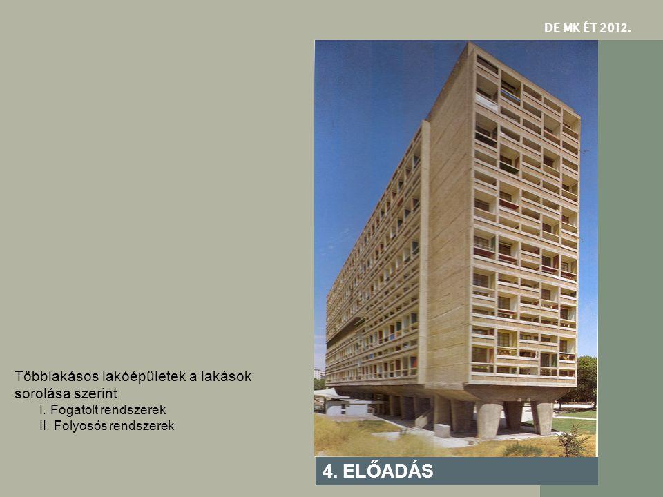 4. ELŐADÁS Többlakásos lakóépületek a lakások sorolása szerint