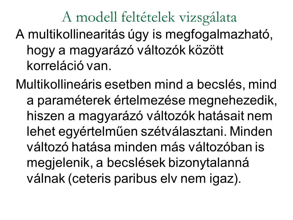 A modell feltételek vizsgálata