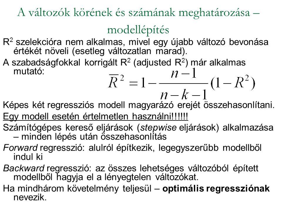 A változók körének és számának meghatározása – modellépítés