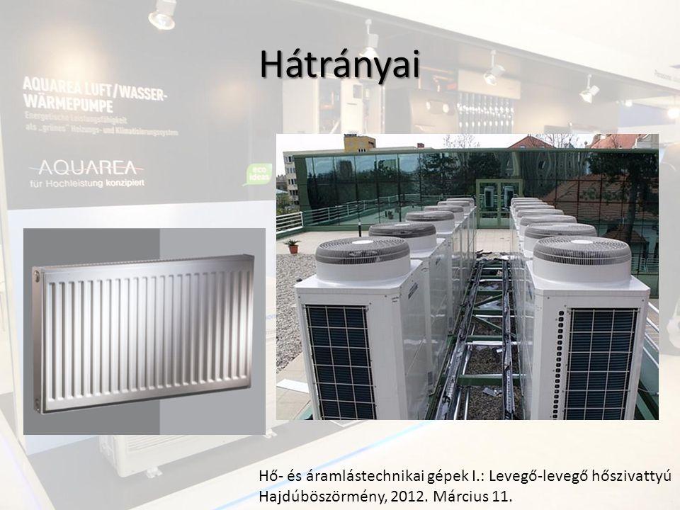Hátrányai Hő- és áramlástechnikai gépek I.: Levegő-levegő hőszivattyú Hajdúböszörmény, 2012.