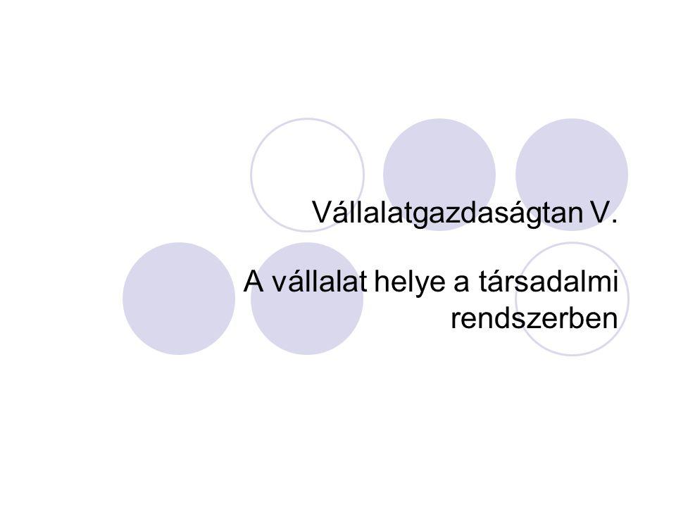 Vállalatgazdaságtan V.