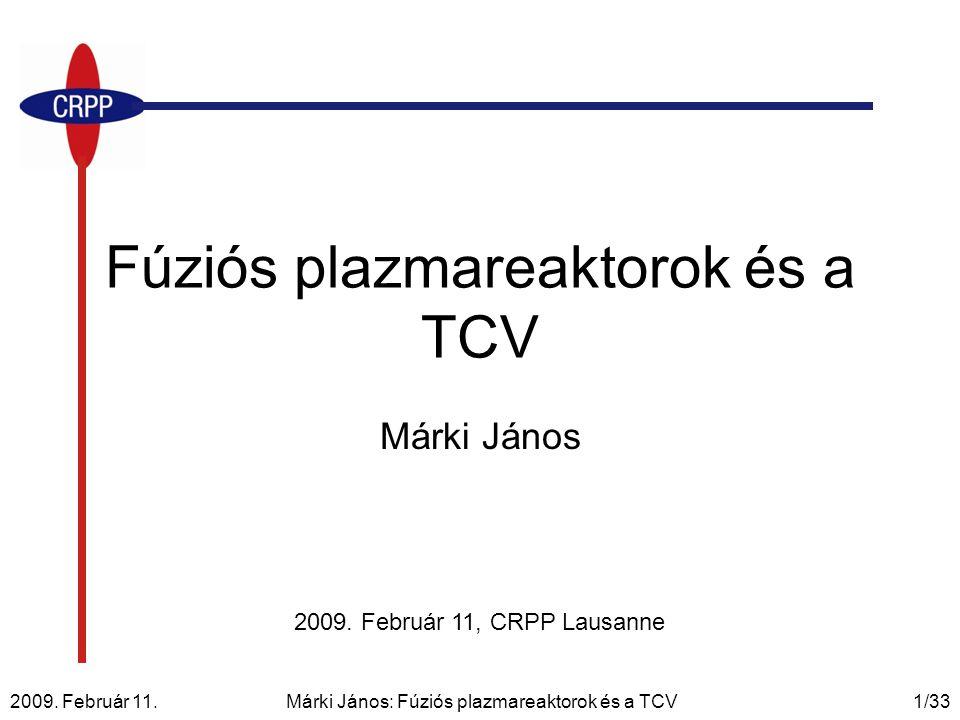 Fúziós plazmareaktorok és a TCV