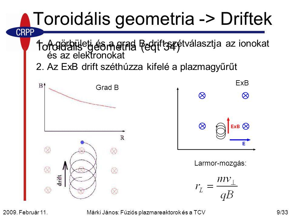 Toroidális geometria -> Driftek