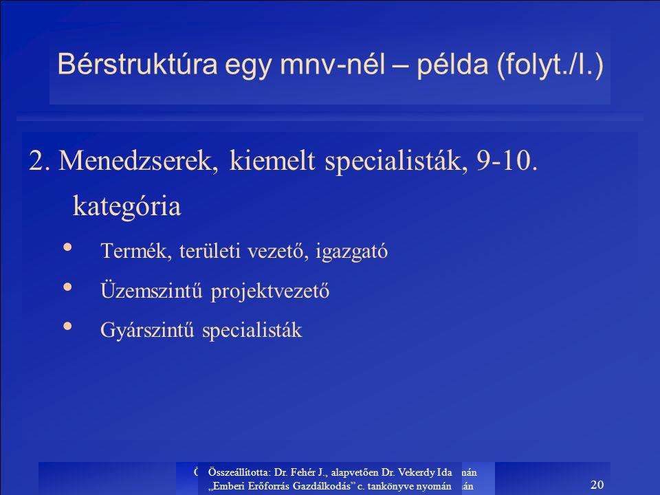 Bérstruktúra egy mnv-nél – példa (folyt./I.)