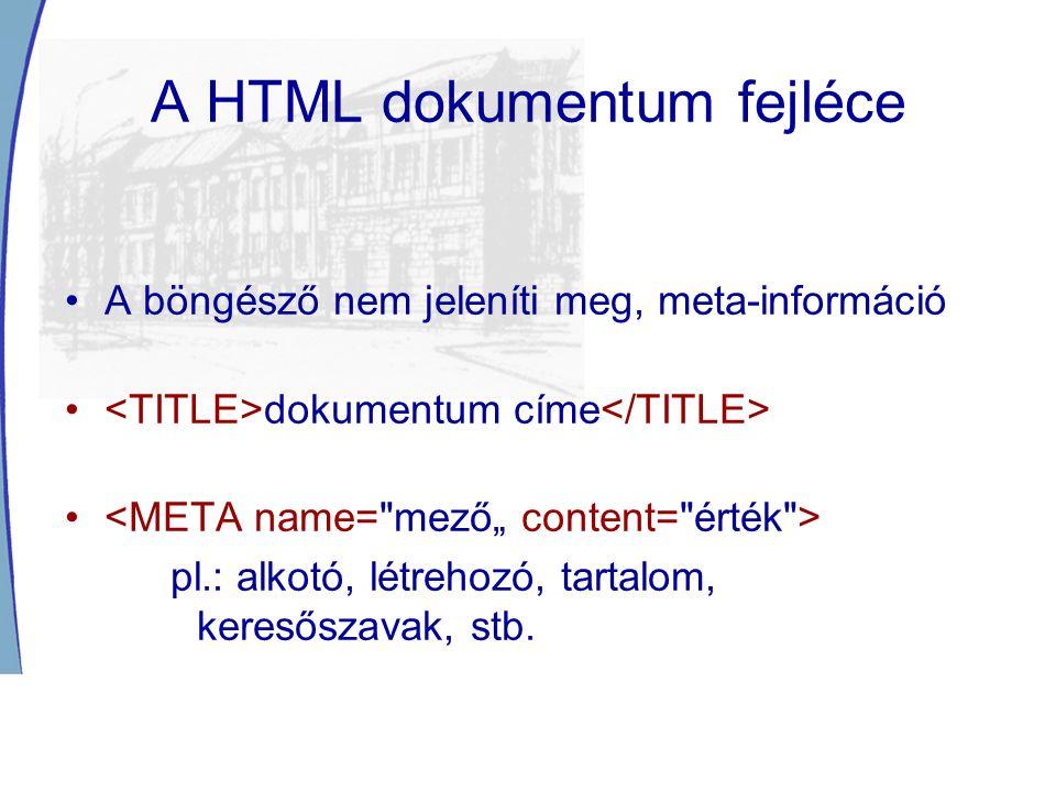 A HTML dokumentum fejléce