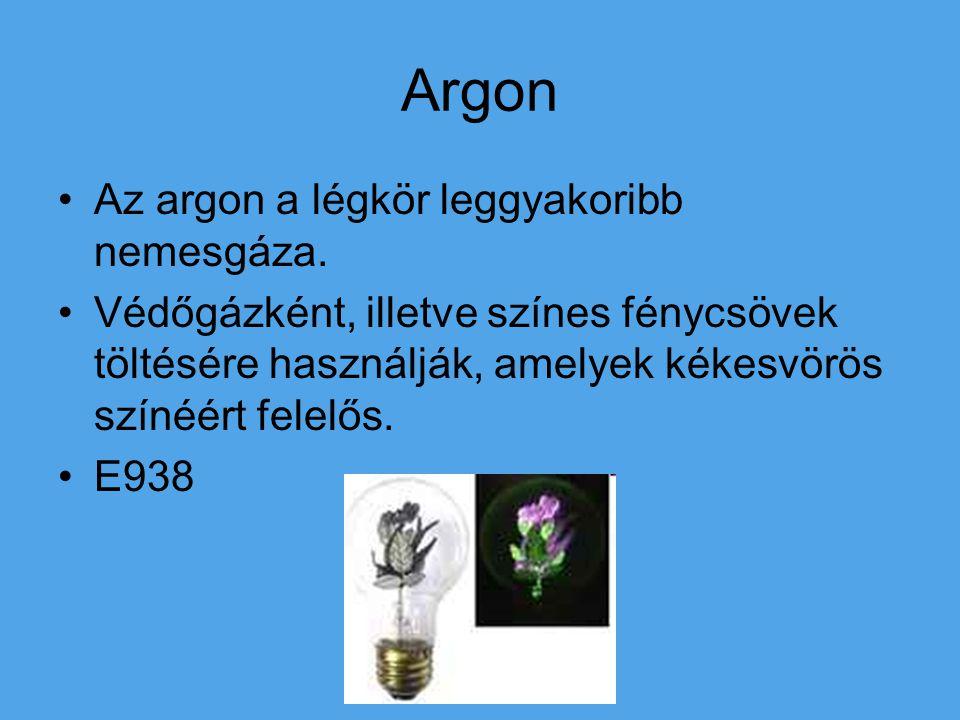 Argon Az argon a légkör leggyakoribb nemesgáza.