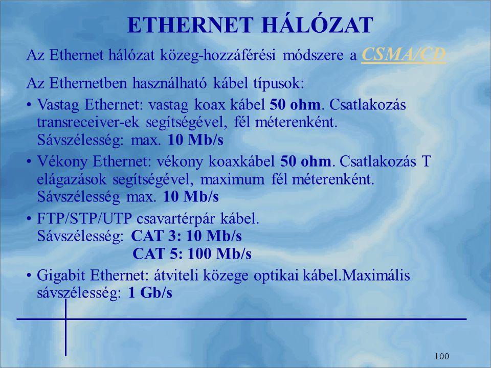 ETHERNET HÁLÓZAT Az Ethernet hálózat közeg-hozzáférési módszere a CSMA/CD. Az Ethernetben használható kábel típusok: