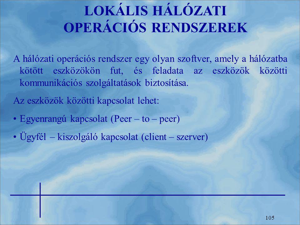 LOKÁLIS HÁLÓZATI OPERÁCIÓS RENDSZEREK