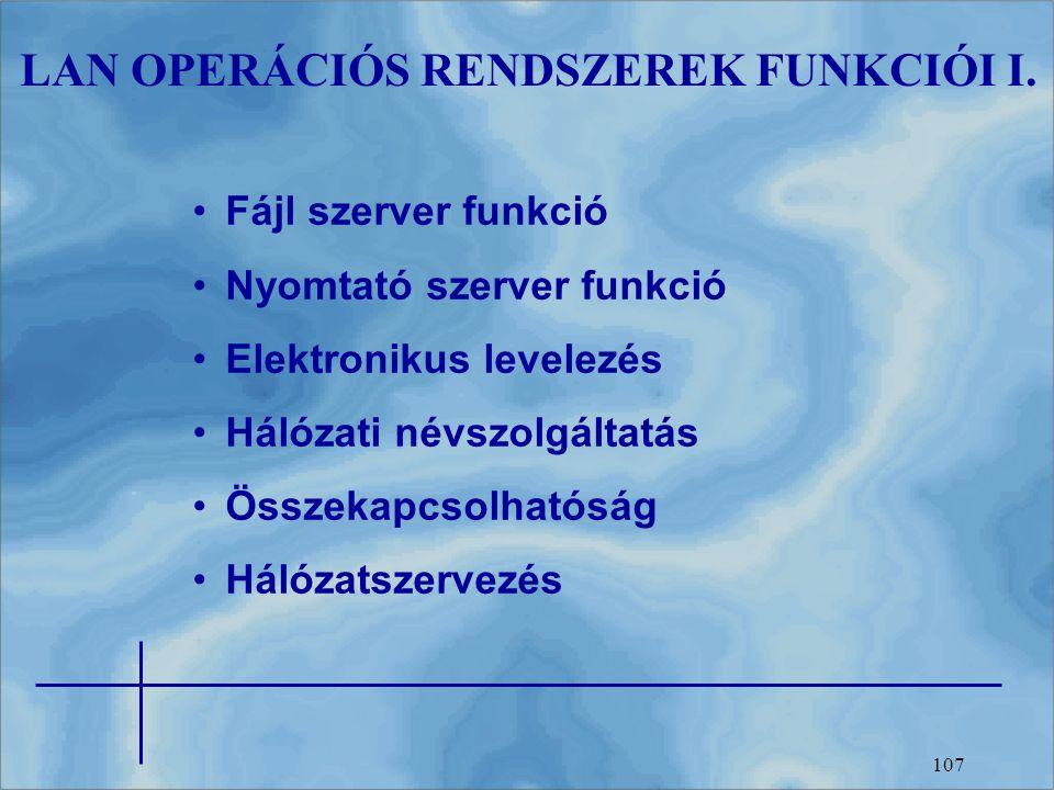 LAN OPERÁCIÓS RENDSZEREK FUNKCIÓI I.