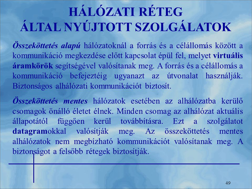 HÁLÓZATI RÉTEG ÁLTAL NYÚJTOTT SZOLGÁLATOK