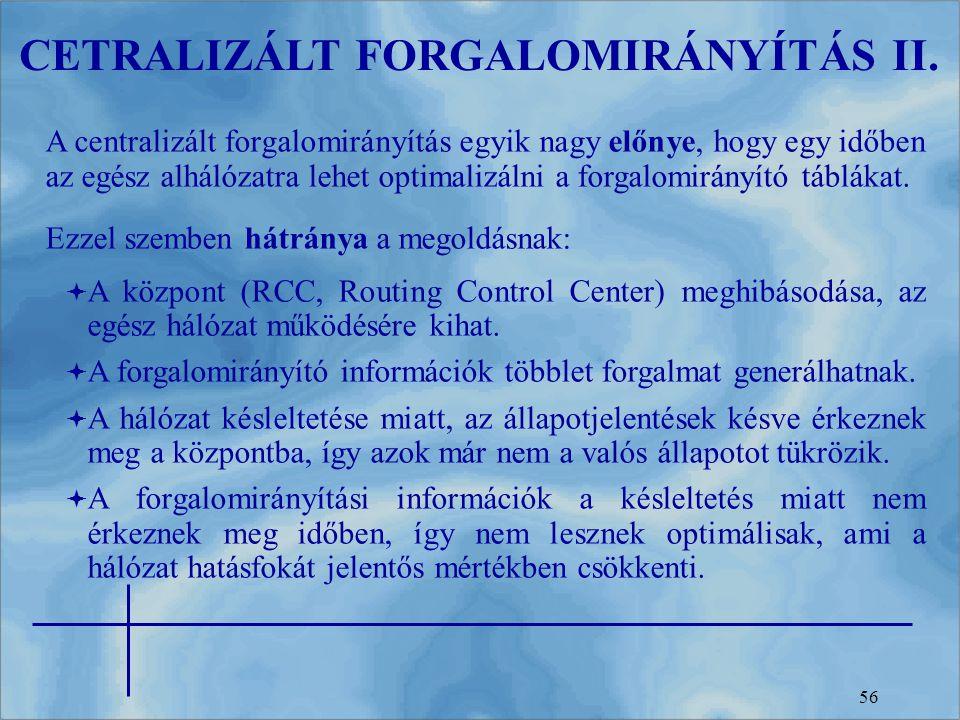 CETRALIZÁLT FORGALOMIRÁNYÍTÁS II.