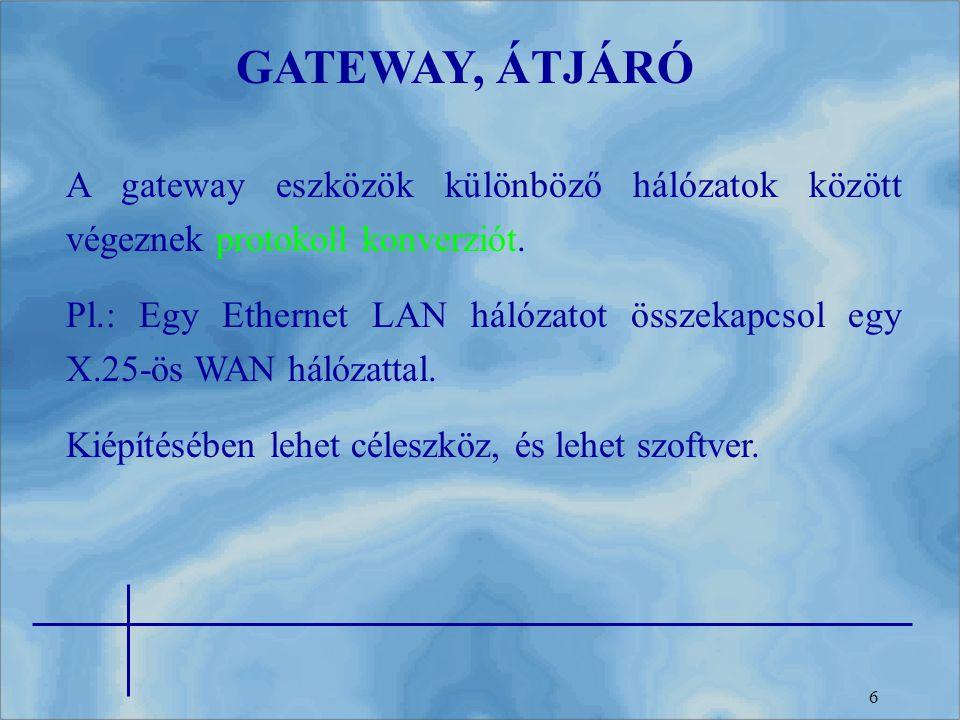 GATEWAY, ÁTJÁRÓ A gateway eszközök különböző hálózatok között végeznek protokoll konverziót.