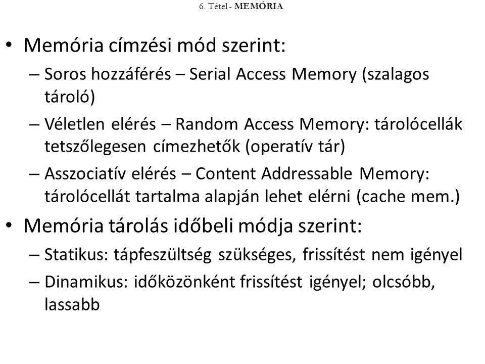 Memória címzési mód szerint: