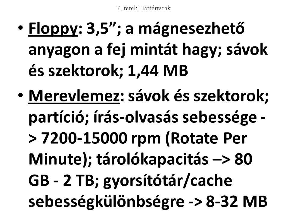 7. tétel: Háttértárak Floppy: 3,5 ; a mágnesezhető anyagon a fej mintát hagy; sávok és szektorok; 1,44 MB.