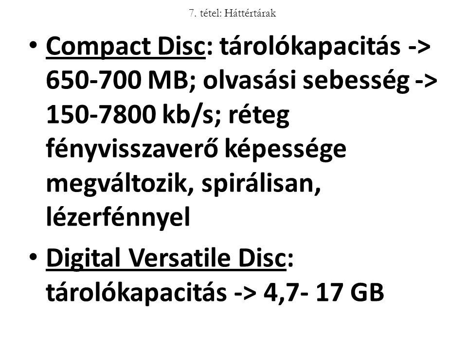 Digital Versatile Disc: tárolókapacitás -> 4,7- 17 GB
