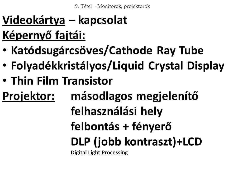 9. Tétel – Monitorok, projektorok