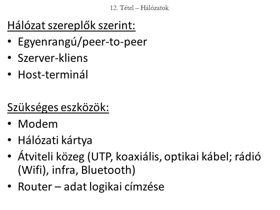 Hálózat szereplők szerint: Egyenrangú/peer-to-peer Szerver-kliens