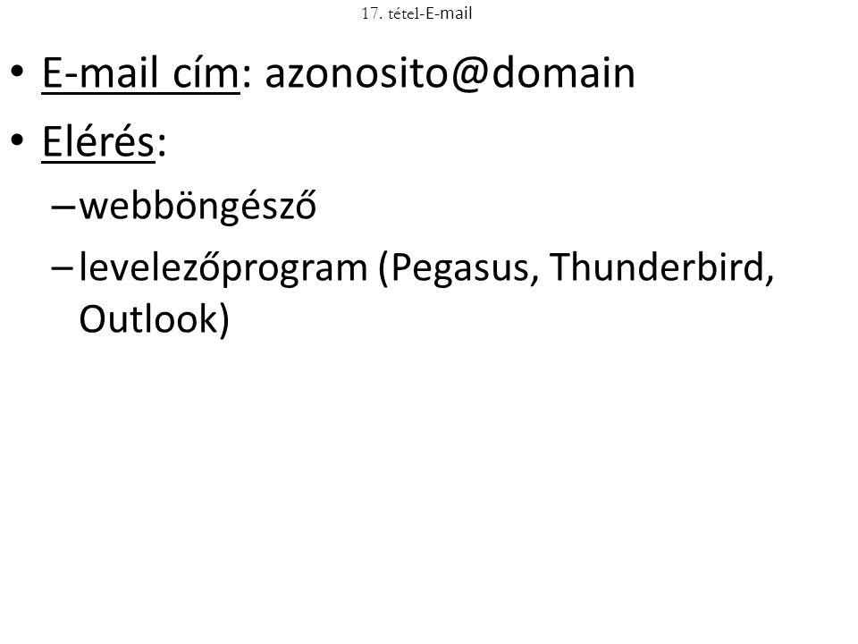E-mail cím: azonosito@domain Elérés: