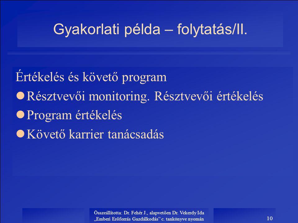 Gyakorlati példa – folytatás/II.