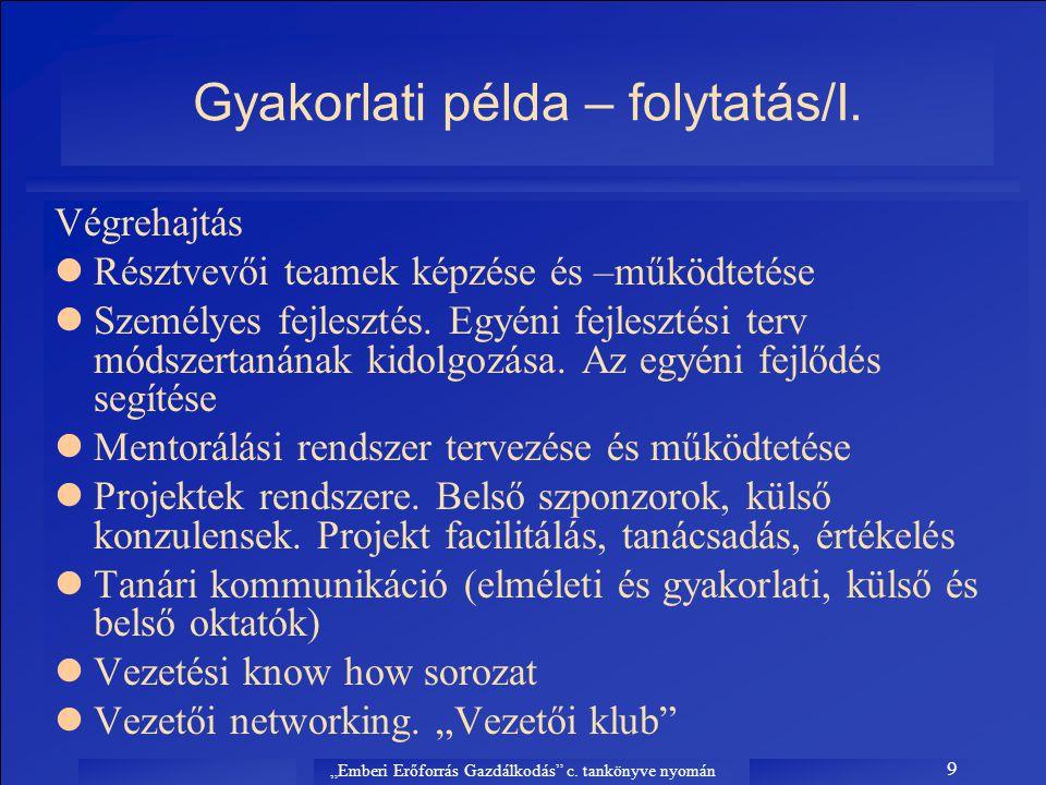 Gyakorlati példa – folytatás/I.