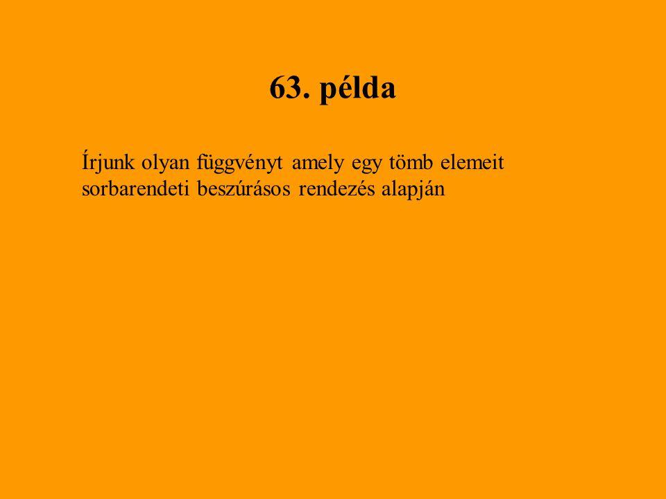 63. példa Írjunk olyan függvényt amely egy tömb elemeit sorbarendeti beszúrásos rendezés alapján