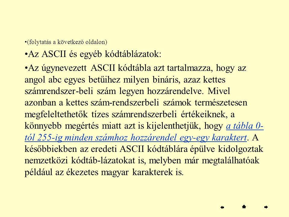 Az ASCII és egyéb kódtáblázatok: