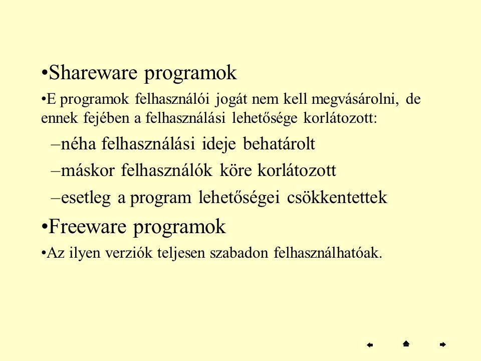 Shareware programok Freeware programok