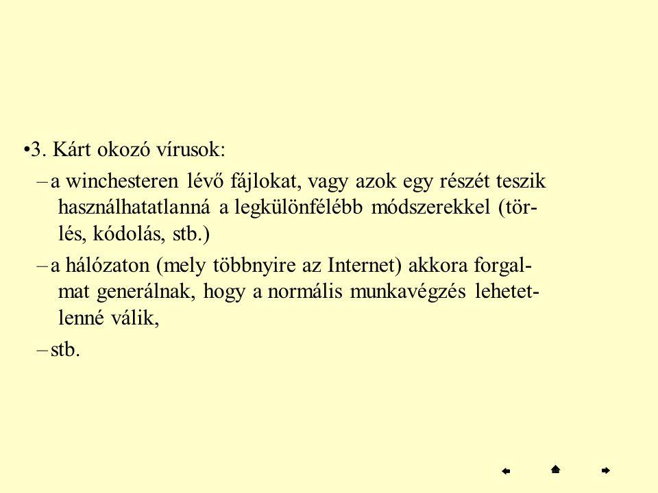 3. Kárt okozó vírusok: