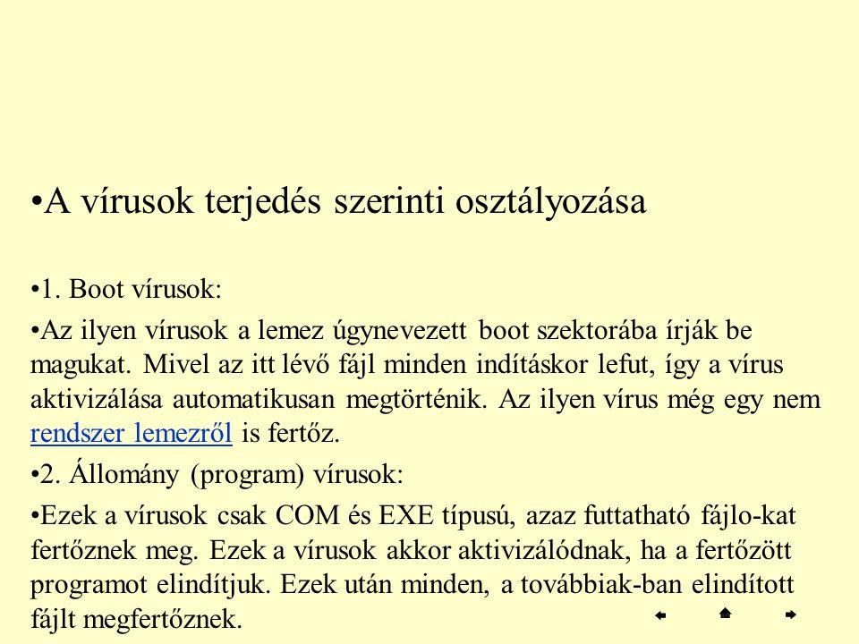 A vírusok terjedés szerinti osztályozása