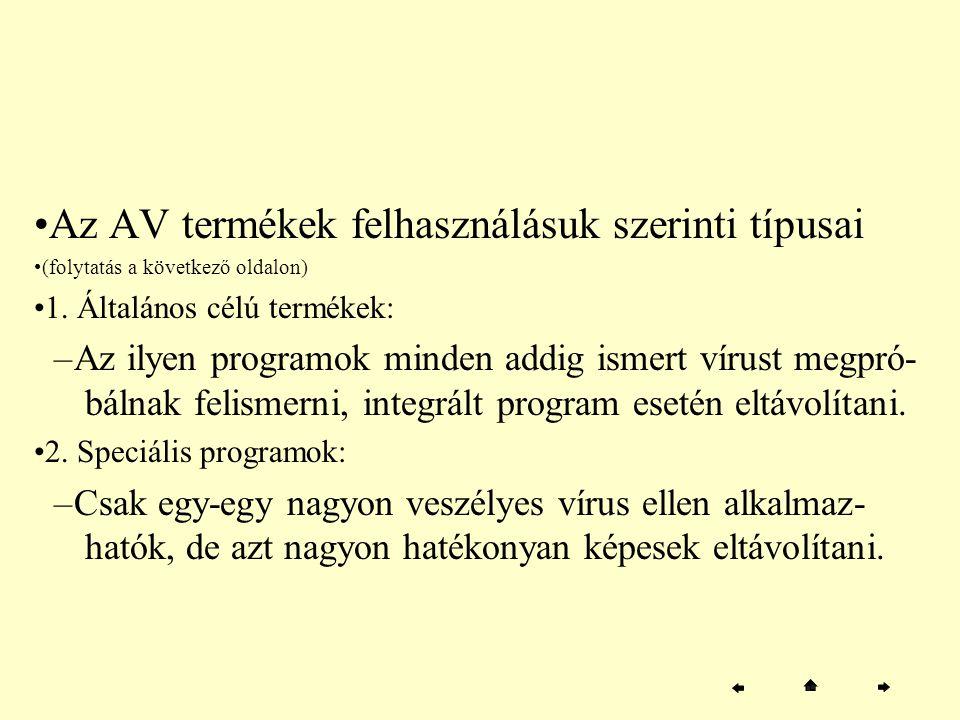 Az AV termékek felhasználásuk szerinti típusai