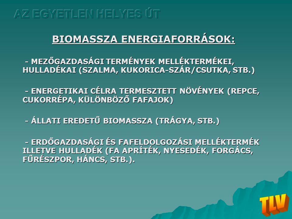 BIOMASSZA ENERGIAFORRÁSOK: