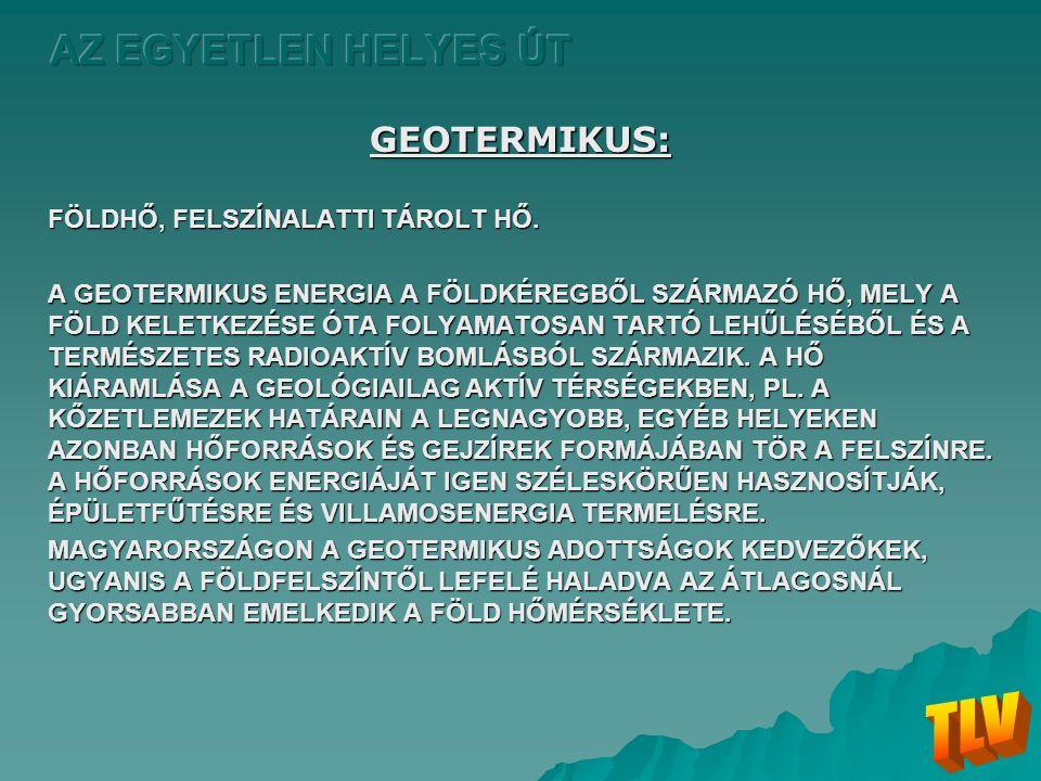 TLV AZ EGYETLEN HELYES ÚT GEOTERMIKUS: