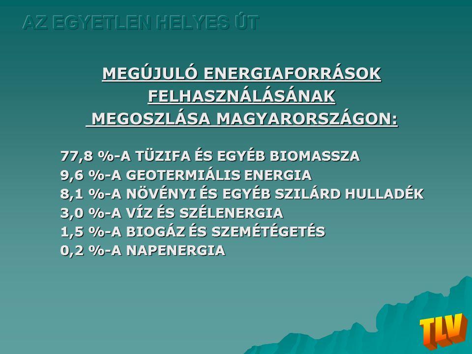 MEGÚJULÓ ENERGIAFORRÁSOK MEGOSZLÁSA MAGYARORSZÁGON:
