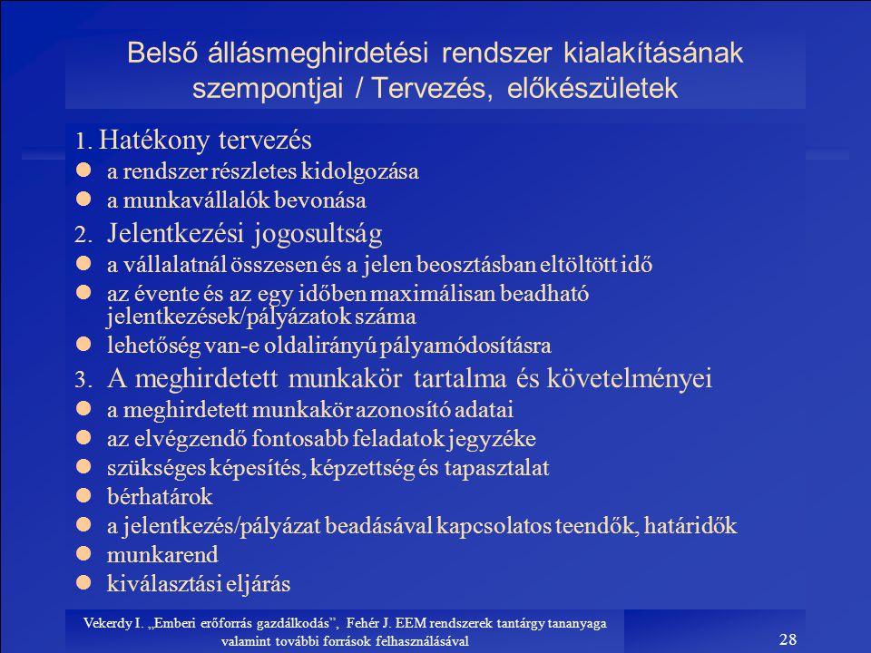 Belső állásmeghirdetési rendszer kialakításának szempontjai / Tervezés, előkészületek