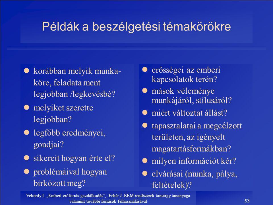 Példák a beszélgetési témakörökre