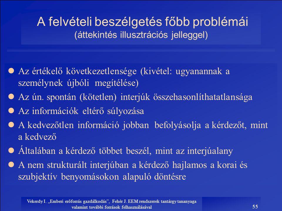 A felvételi beszélgetés főbb problémái (áttekintés illusztrációs jelleggel)