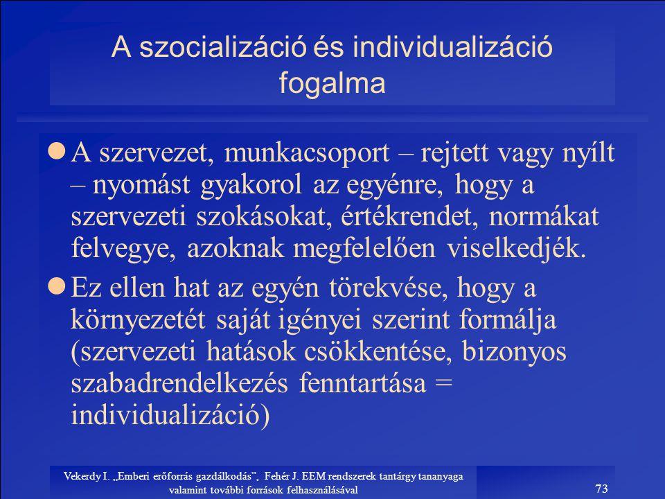 A szocializáció és individualizáció fogalma