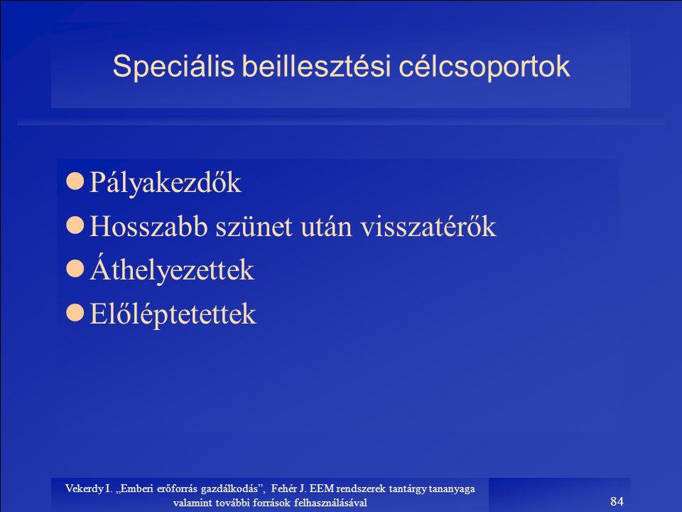 Speciális beillesztési célcsoportok