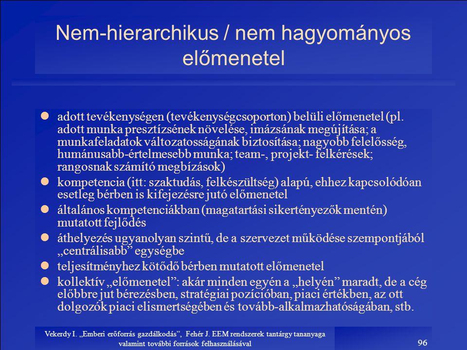 Nem-hierarchikus / nem hagyományos előmenetel