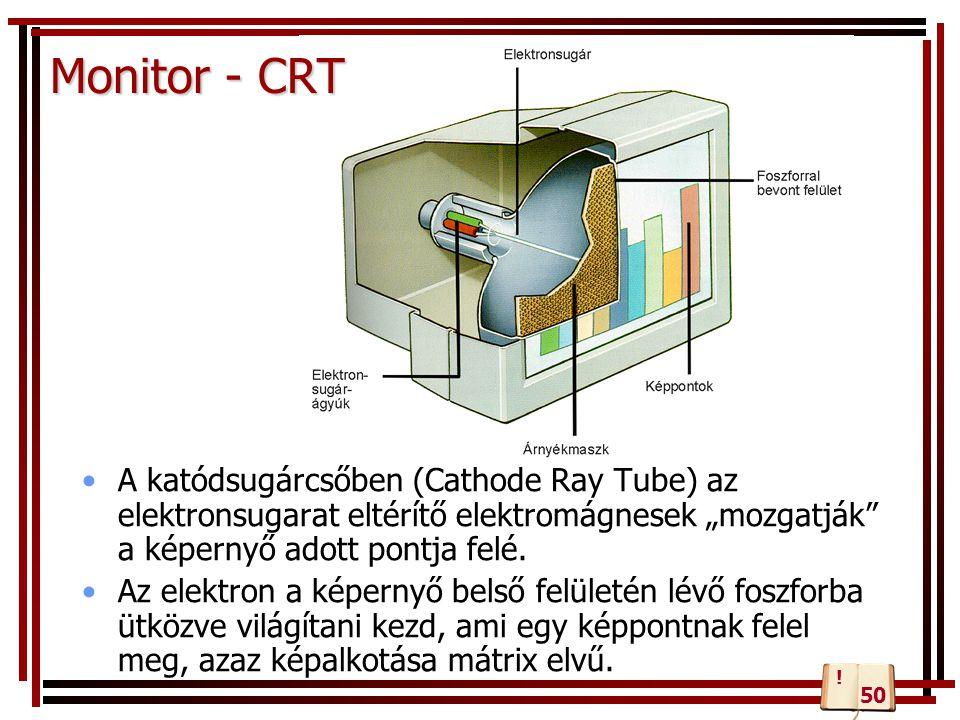 """Monitor - CRT A katódsugárcsőben (Cathode Ray Tube) az elektronsugarat eltérítő elektromágnesek """"mozgatják a képernyő adott pontja felé."""