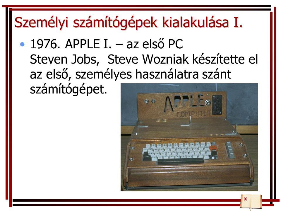 Személyi számítógépek kialakulása I.