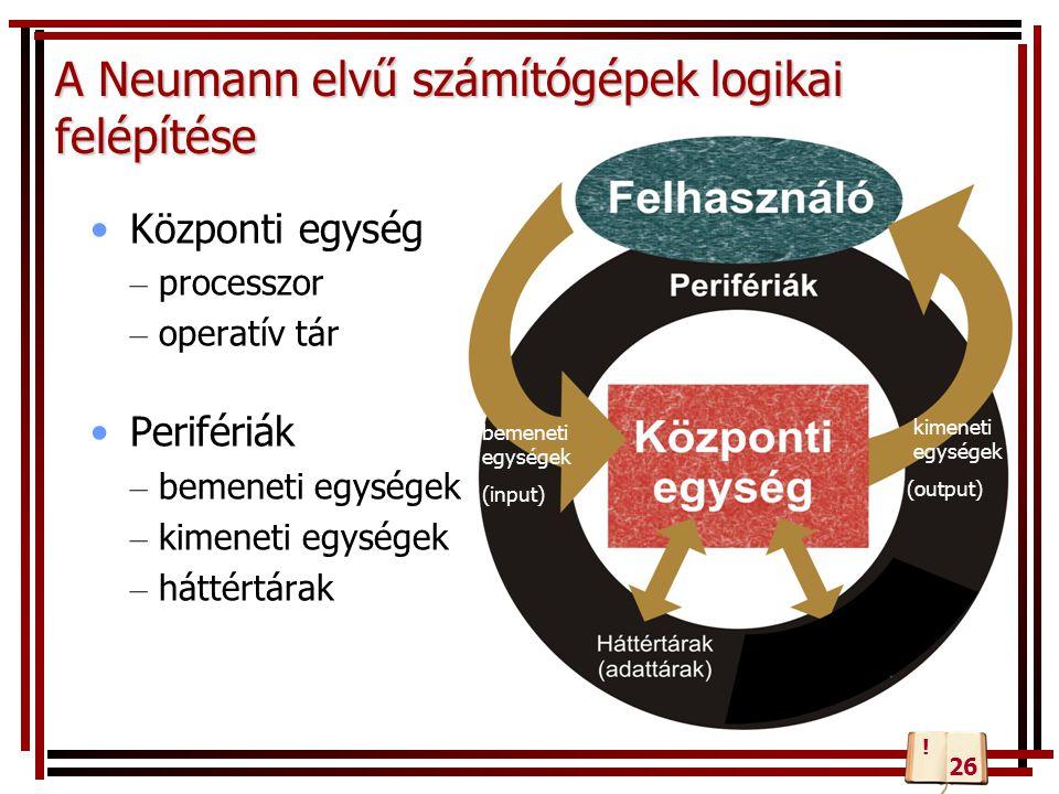 A Neumann elvű számítógépek logikai felépítése