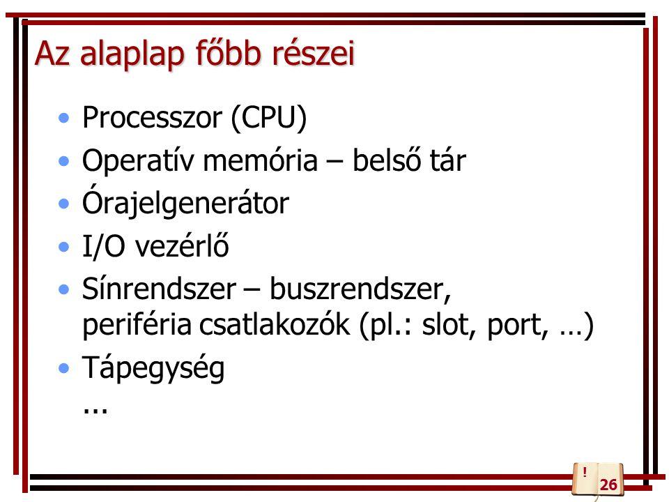 Az alaplap főbb részei Processzor (CPU) Operatív memória – belső tár