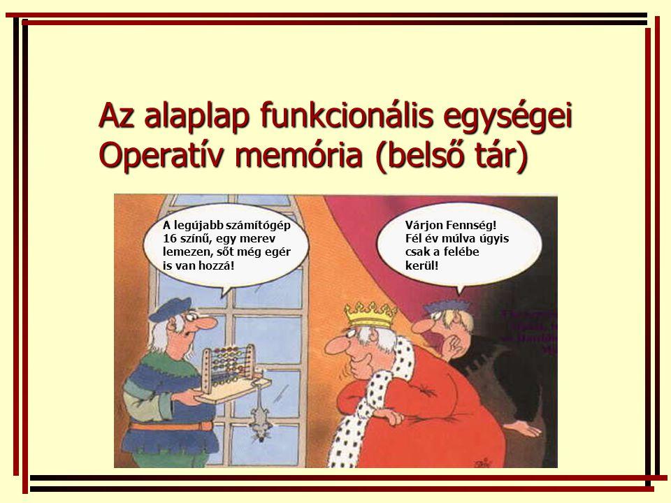 Az alaplap funkcionális egységei Operatív memória (belső tár)