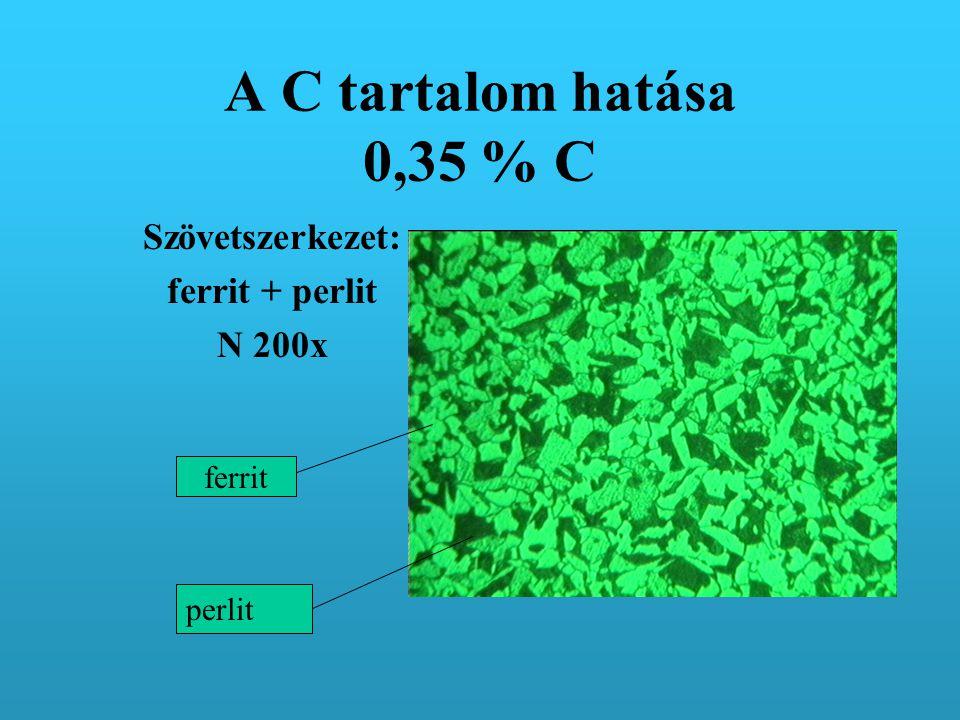 A C tartalom hatása 0,35 % C Szövetszerkezet: ferrit + perlit N 200x